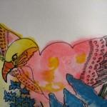 2.11 Bels oiseaux (detail) - gouache, aquarelle et  plume feutre - 30cm X 40cm