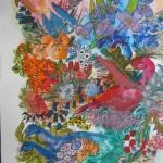 2.11 Bels oiseaux - gouache, aquarelle et  plume feutre - 30cm X 40cm