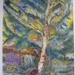 2.14 L'arbre aux oiseaux - gouache et plume feutre  - 32cm X 28cm