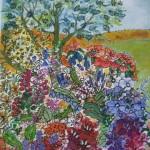 2.15 Arbre et fleurs - gouache et plume feutre - 20cm X 30cm