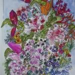 2.21 Tulipes magenta - gouache et plume feutre - 30cm X 36cm