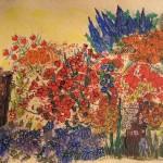 2.5 Le jardin bleu - gouache et  plume feutre  - 20cm X 16cm