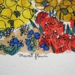 2.9 Muret fleuri (detail) - gouache et  plume feutre - vendu