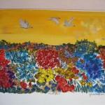 2.9 Muret fleuri - gouache et  plume feutre - vendu