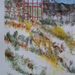 3.6 La cloture rouge - 2010 - aquarelle